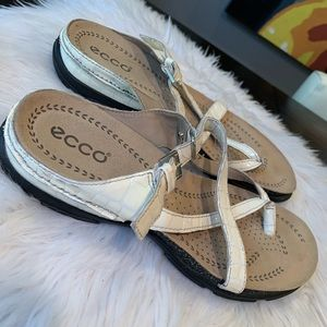 ECCO White Leather Cork Comfort Sandals 38/8